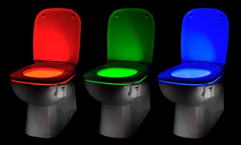 WC LED světlo se senzorem pohybu, 8 barev!